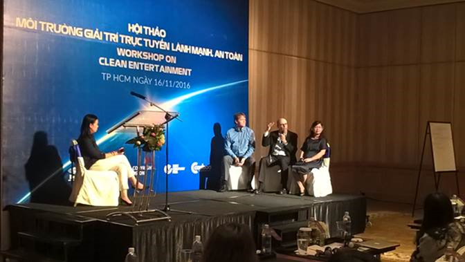From left:   Phan Cam Tu, Motion Picture Association; Neil Gane, CASBAA;  Jacques-Aymar de Roquefeuil, K+; and Vu Thi Thanh Tam of broadcaster VTV