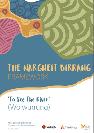 Image of poster of The Nargneit Birrang Fraework with Aboriginal artowrk and subheading 'To See The River (Woiwurrung)""