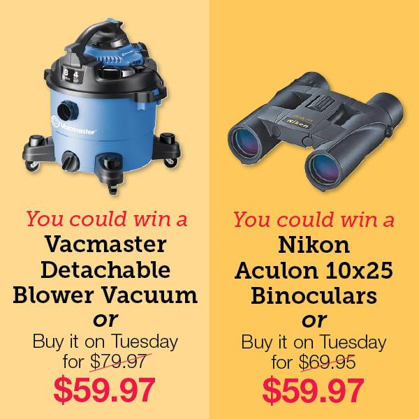 Vacmaster Detachable Blower Vacuum. Nikon Aculon 10x25 Binoculars.