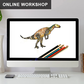 Image of a drawn dinosaur on a computer screen