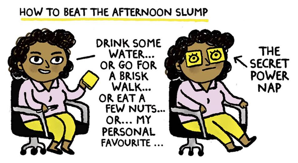 Cartoon titled: How to beat the afternoon slump.