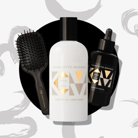 Graphic of a hair brush and two hair products